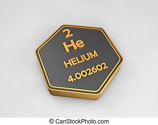 Helium - He - chemical element periodic table hexagonal shape 3d illustration