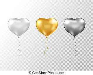 Helium heart balloons set isolated on transparent background. Foil glossy gold, silver and black festive balloons. Baloon for anniversary, birthday party, wedding, grand opening. Vector illustration