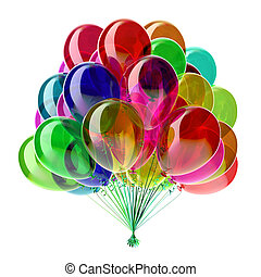 Helium party balloons multicolored