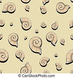 Helix black and white - Seamless pattern helix sea shell...