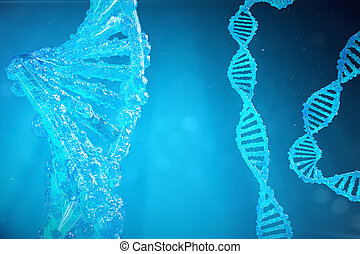 Helix DNA molecule with modified genes. Correcting mutation...