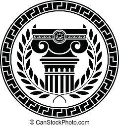 hellénique, colonne, couronne, laurier