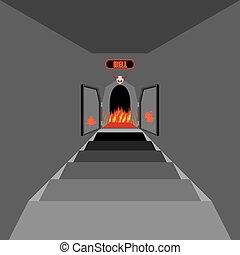hell., ベクトル, devil., 階段, ドア, 宗教, 開いた, purgatory., fiery, 門, ...
