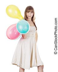 hell, bild, von, glücklich, blond, mit, farbe, luftballone
