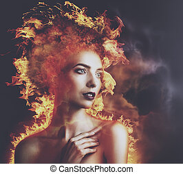 Hell Fire. Abstract beauty portrait with burning flame as...