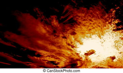 Hell Fire Sky and Clouds Time Lapse