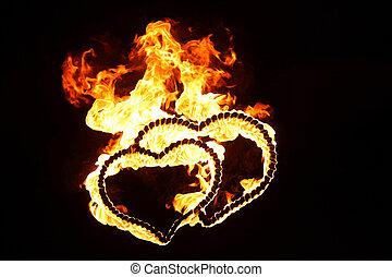 hell, flamy, symbol, auf, der, schwarzer hintergrund