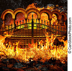 Hell Gates - Fantastic hell entrance with gates, stairs and...