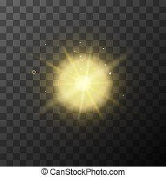 hell, gelber , anzünden effekt, mit, magisches, funkeln, auf, durchsichtig, hintergrund