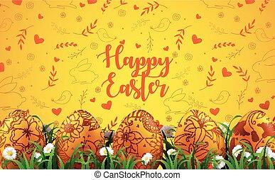hell, gelber hintergrund, mit, realistisch, eier, und, gänseblumen, blumen, in, der, gras
