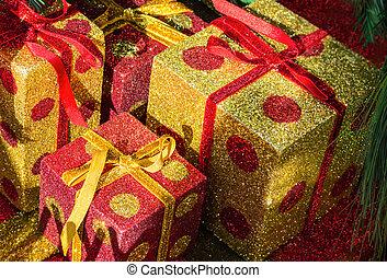 hell, geschenk boxt, bei, weihnachtsbaum
