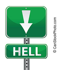 hell green street sign illustration design over white
