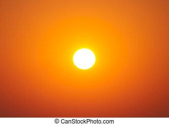 hell, große sonne, auf, himmelsgewölbe, mit, gelber ,...