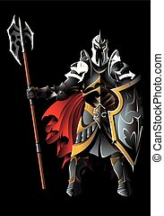 Hell Guardian - Dark guardian, with full armor, holding...