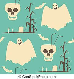 Hell Halloween party seamless pattern in shabby retro colors
