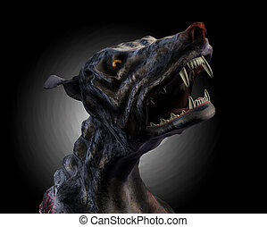 Hell Hound Howling - 3D render of a desperate hound howling...