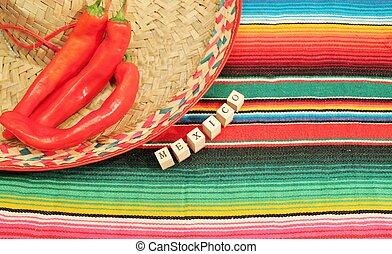 hell, mexikanisch, sombrero, fest, teppich, traditionelle ,...