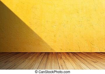 hell, orange, betonwand, gegen, perspektive, hölzerner fußboden, mit, schatten, von, links, side.