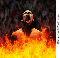 Rendered image of a man screaming in the flames of hell