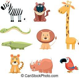 hell, satz, kunst, gefärbt, klammer, collection., kindisch, afrikanisch, spaß, tiere, karikatur