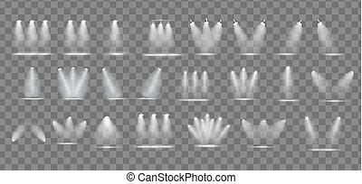 hell, satz, scheinwerfer, realistisch, freigestellt, sammlung, durchsichtig, hintergrund., lampe, vektor, beleuchtung, abbildung, transparent, projektoren, effekte
