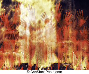 Hell - Abstract illustration of hell with hands and a fiery...