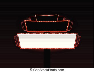 hell, theater, kino, neon zeichen, glühen, retro