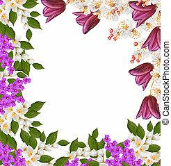 hell, und, bunte, fruehjahr, flowers., blumen-, hintergrund.