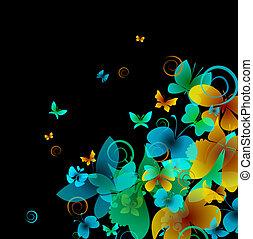 hell, vlinders, auf, a, schwarz, hintergrund., vektor