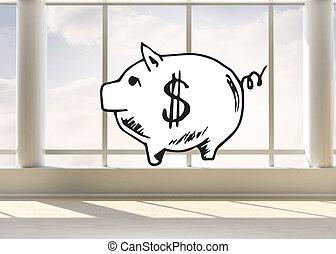 hell, Zimmer,  bank, Schweinchen