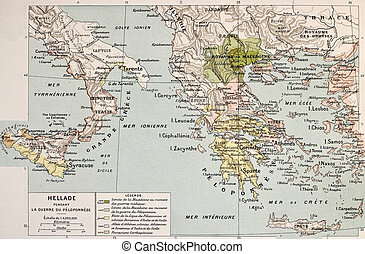 Hellade - Map of Aegean and Ionic region in Peloponnese war...