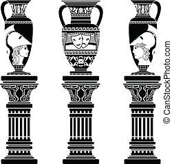 helleński, dzbanki, z, kolumny