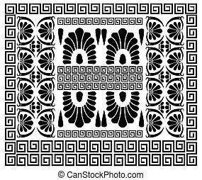 helleński, grek, dekoracje, starożytny, pattern.
