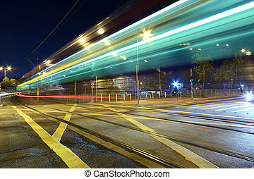 helle schiene, eins, art, von, transport, in, hongkong, nacht
