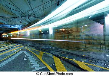 helle schiene, in, hongkong, nacht