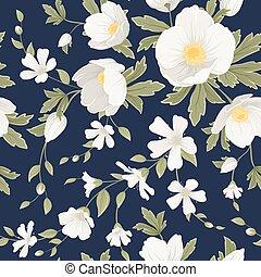 Hellebore anemone gypsophila floral pattern navy - Hellebore...