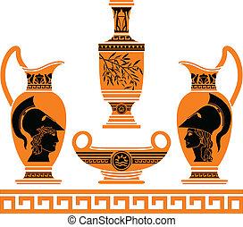 hellenic, セット, vases., 型板