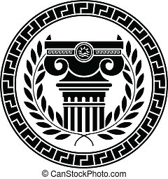 hellenic, coluna, grinalda, laurel