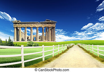 Hellenic culture: Athens landmark with blue sky and clouds in the background