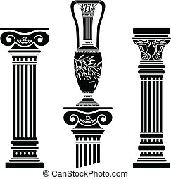 hellenic, jarro, colunas