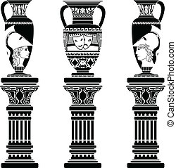 hellenic jugs with columns. second variant. stencil