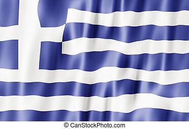 Hellenic Republic, Greece Flag Blowing In Wind