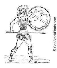 Hellenic warrior - Vintage illustration of a Hellenic ...