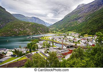 Hellesylt village near Geiranger fjord, Norway