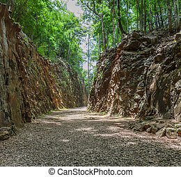 Hellfire Pass in Kanchanaburi, Thailand - built during World...