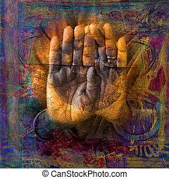 hellige, hænder