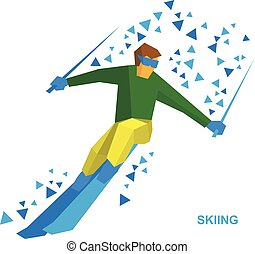 helling, berg, ski, sportsman, dons
