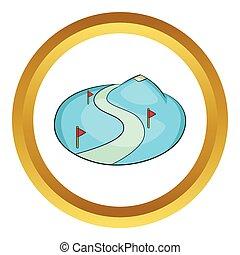 helling, berg, sneeuw, vector, ski, pictogram