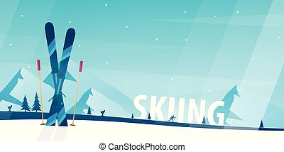 helling, berg, winter, landschap., sportsman, sport., vector...