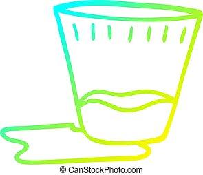 helling, drank, spotprent, koude, tekening, lijn, spilt